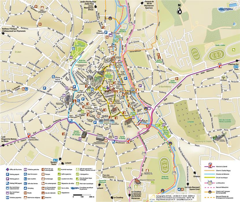 Plan de l'hypercentre de Chartres